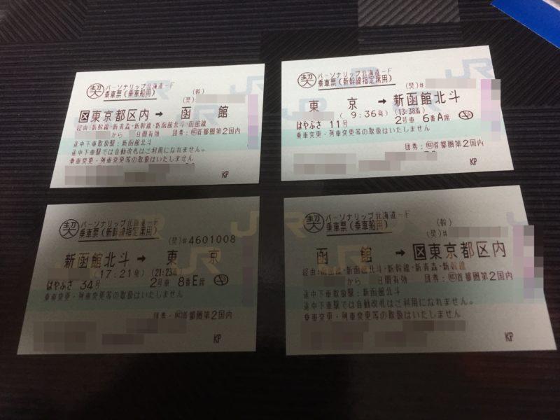 東京から北海道を往復するために使う切符